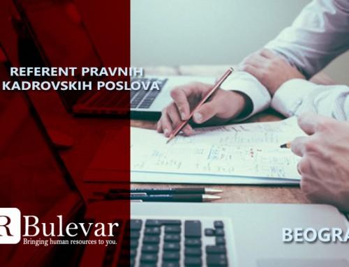 Referent pravnih i kadrovskih poslova | Posao, Beograd